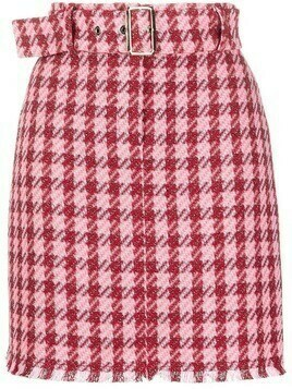 Pinko belted check-print mini skirt