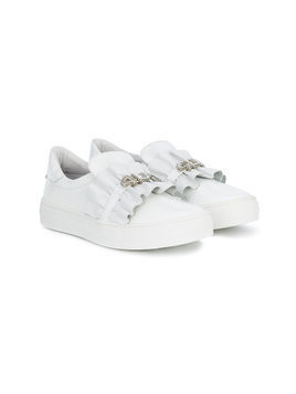 Cesare Paciotti 4Us Kids ruched logo strap sneakers - White