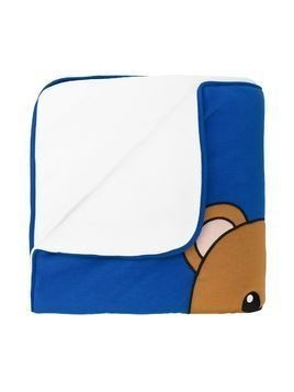Moschino Kids teddy bear print blanket - Blue
