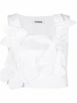 Vivetta sleeveless butterfly applique top - White