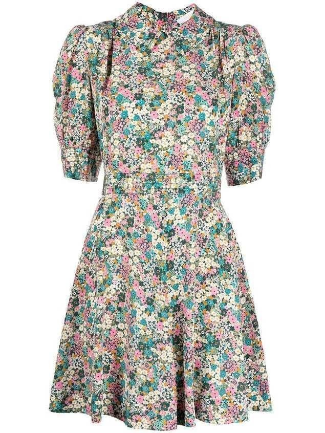 See by Chloé floral-print mini silk dress - Green