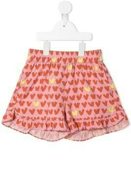 Stella McCartney Kids heart-print ruffle-hem shorts - PINK
