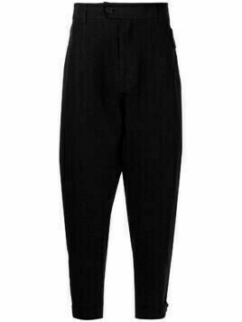 Isabel Benenato tapered-leg linen trousers - Black
