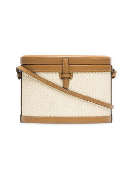 Hunting Season beige and brown trunk woven straw and leather bag