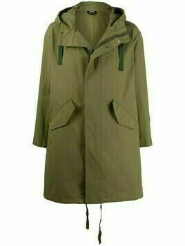 A.P.C. concealed hooded parka coat - Green