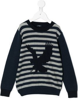 Il Gufo intarsia stripe eagle knit jumper - Blue