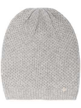 LIU JO logo-patch knitted beanie - Grey