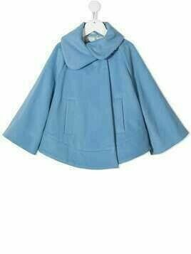 Fay Kids knitted long-sleeved cape - Blue