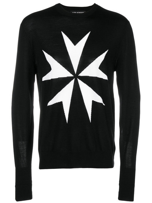 Neil Barrett military star sweater - Black