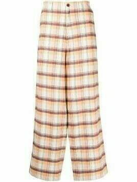 UNDERCOVER checked wide-leg trousers - Neutrals