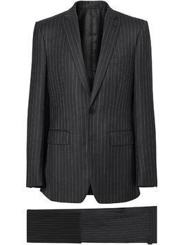 Burberry English Fit Pinstriped Wool Suit - Grey