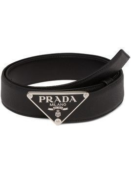 Prada logo plaque buckle belt - Black