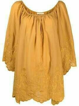 Mes Demoiselles draped cotton blouse - Yellow