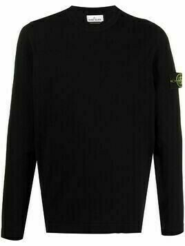 Stone Island logo patch knitted jumper - Black