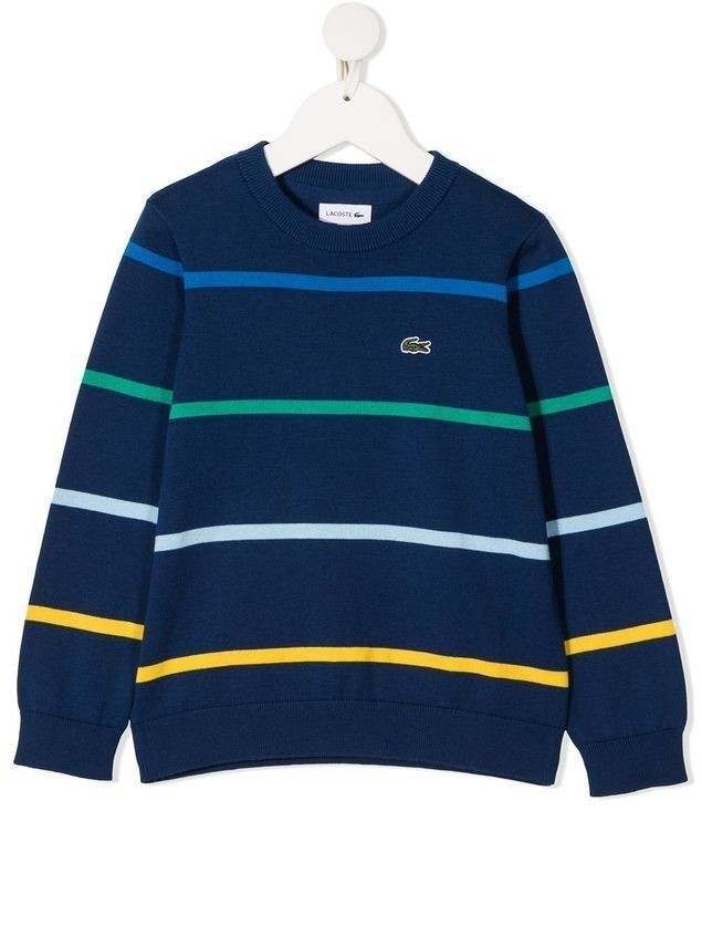 Lacoste Kids striped crocodile-embroidered jumper - Blue