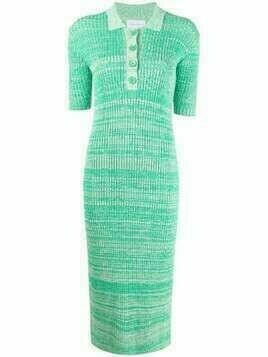 Christian Wijnants ribbed-knit polo dress - Green