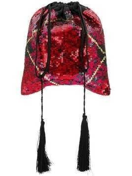 Attico sequined tartan pouch bag - Red