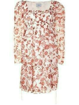 Erdem floral-print square-neck dress - White