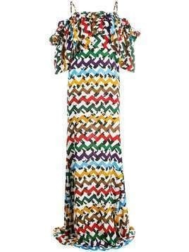 Edeline Lee zigzag cold-shoulder maxi dress - White