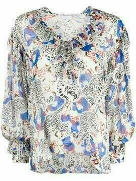 Lala Berlin Blanka cheetah-print blouse - Blue