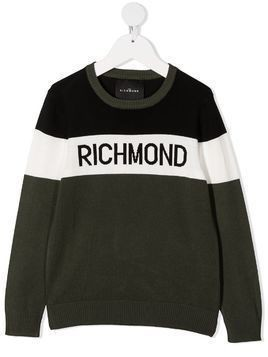 John Richmond Junior intarsia-knit logo sweater - Green