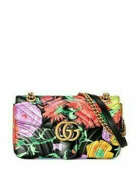 Gucci x Ken Scott floral print GG Marmont small shoulder bag - Black