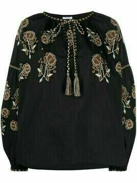 P.A.R.O.S.H. floral-embroidered peasant blouse - Black