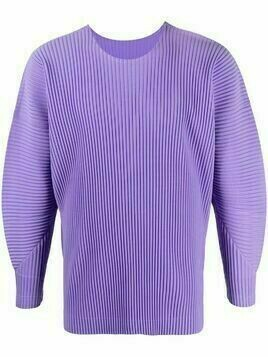 Homme Plissé Issey Miyake pleated balloon-sleeve sweatshirt - PURPLE