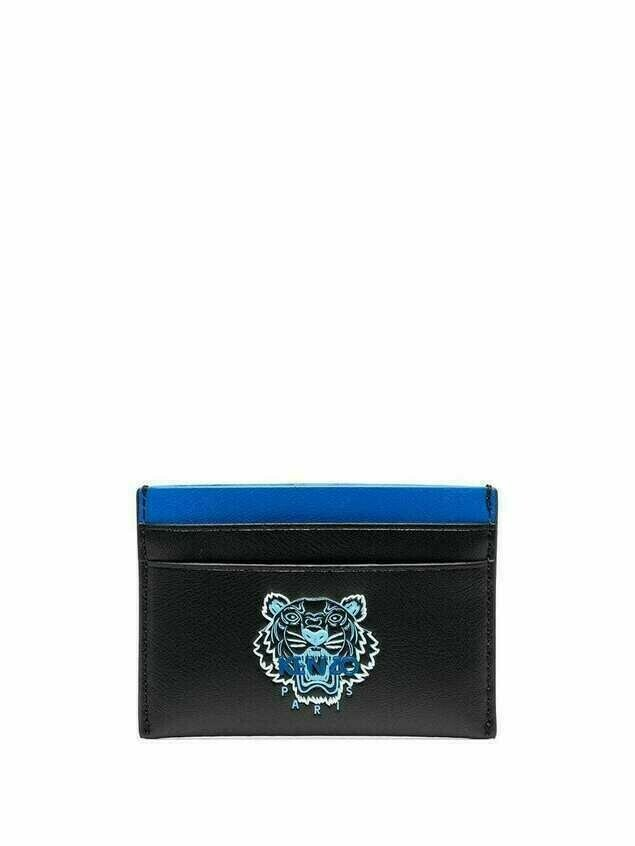 Kenzo Tiger logo leather cardholder - Black