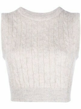 Brunello Cucinelli cable knit sleeveless top - Grey