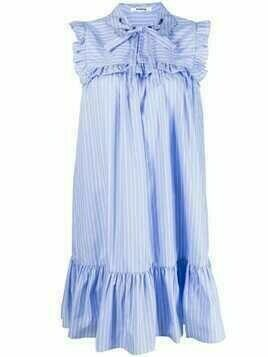 Vivetta bib-collar striped dress - Blue