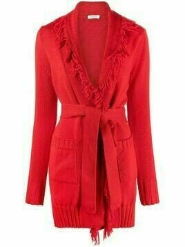 P.A.R.O.S.H. frayed-edge cotton cardigan - Red
