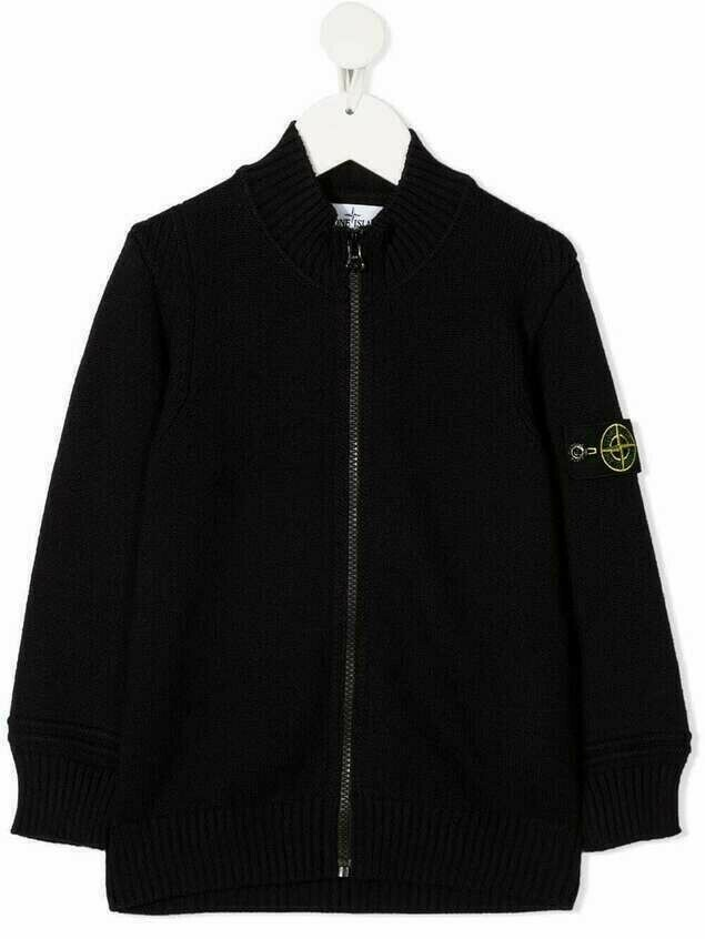 Stone Island Junior logo-patch zip-up cardigan - Blue