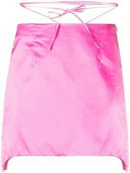 Helmut Lang self-tie waist satin mini skirt - PINK
