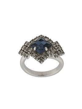 Christian Dior pre-owned stone-embellished geometric ring - SILVER