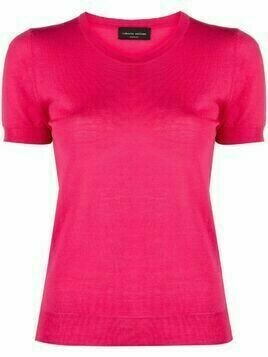 Roberto Collina merino short-sleeved knit top - Pink