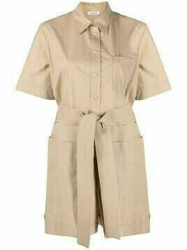 P.A.R.O.S.H. belted shirt-style playsuit - Neutrals