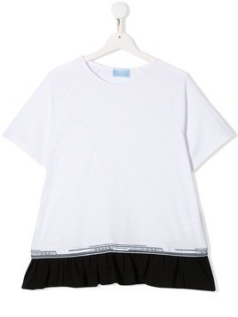 Lanvin Enfant TEEN ruffled hem T-shirt - White