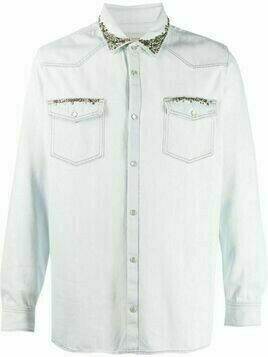 Golden Goose stud-embellished cotton shirt - Blue