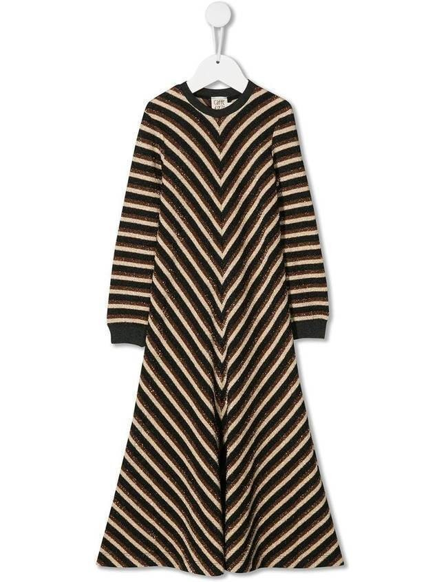 Caffe' D'orzo Mirella lamé striped dress - Black