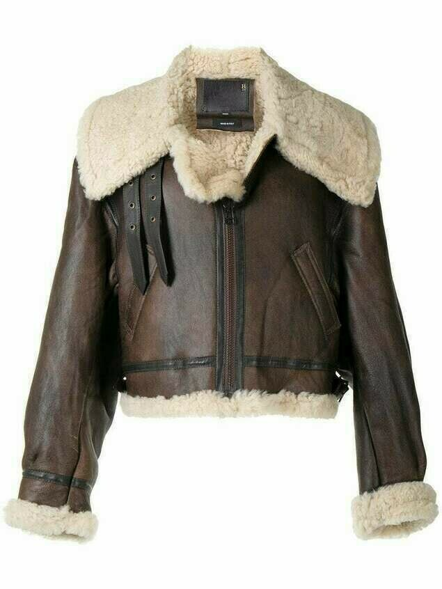 R13 oversized short shearling jacket - Brown