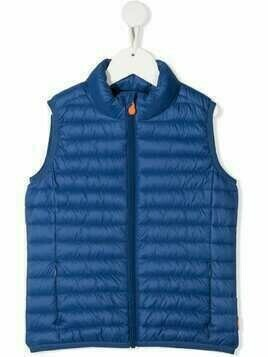 Save The Duck Kids Giga quilted zip-up gilet - Blue