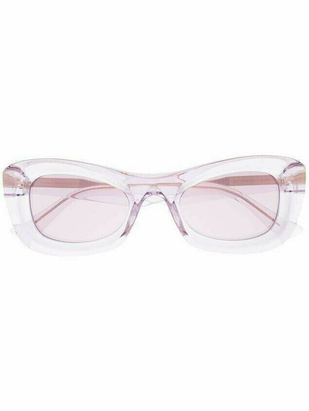 Bottega Veneta rectangle-frame tinted sunglasses - PURPLE