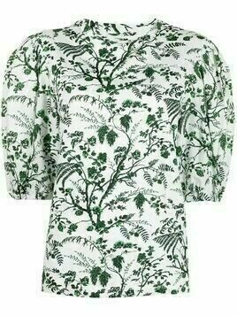 Erdem Botanical-print puff-sleeve shirt - White