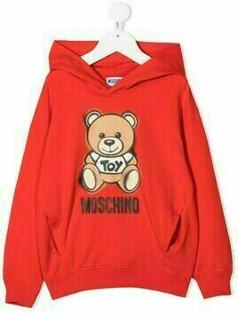 Moschino Kids teddy bear-print cotton hoodie - Red