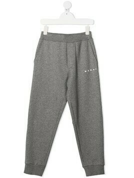 Marni Kids logo print track trousers - Grey