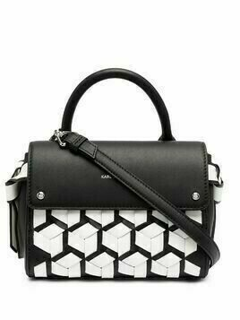 Karl Lagerfeld K/Ikon mini braided top handle satchel - Black