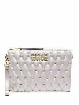 Versace Jeans Couture metallc-tone studded clutch bag - PINK