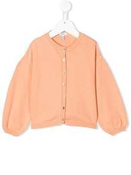 Knot ballon sleeve cardigan - ORANGE