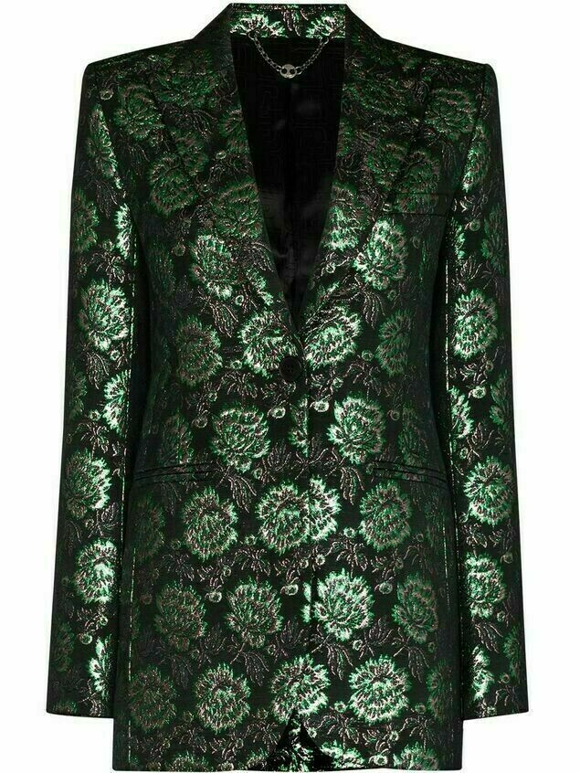 Paco Rabanne floral-jacquard single-breasted blazer - Black
